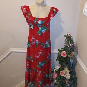 Vtge 60-70's K's Fashions Hawaii Red Floral Mu Mu